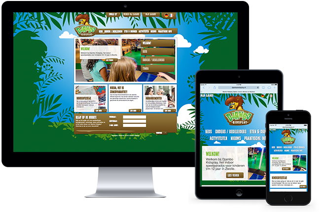 Djambo's website on Desktop and mobile devices