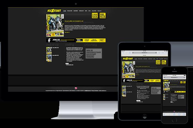 Kicxstart's website on Desktop and mobile devices